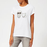 Karl Lagerfeld Women's Space Karl and Choupette T-Shirt - White