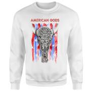 Sweat Homme American Gods Tête de Mort et Drapeau Américain - Blanc