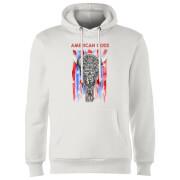 Sweat à Capuche Homme American Gods Tête de Mort et Drapeau Américain - Blanc