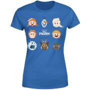 T-Shirt Femme La Reine des Neiges - Emoji - Bleu Roi