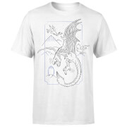 Harry Potter Dragon Line Art Men's T-Shirt - White