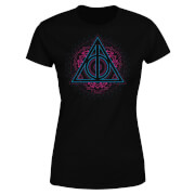 Harry Potter Neon Deathly Hallows Damen T-Shirt - Schwarz
