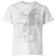 Harry Potter Dragon Line Art Kids' T-Shirt - White