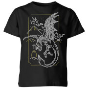Harry Potter Dragon Line Art Kinder T-Shirt - Schwarz