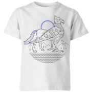 Harry Potter Buckbeak Line Art Kinder T-Shirt - Weiß