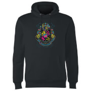 Harry Potter Neon Hogwarts Crest Hoodie - Black