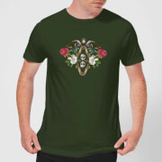 Natural History Museum Skulls And Flowers Men's T-Shirt - Forest Green