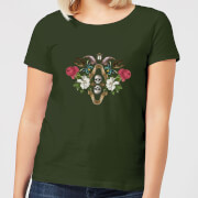 Natural History Museum Skulls And Flowers Women's T-Shirt - Forest Green