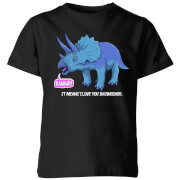 Rawr It Means I Love You In Dinosaur Kids' T-Shirt - Black