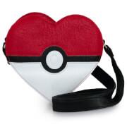 Loungefly Pokémon Pokéball Heart Shaped Cross Body Bag