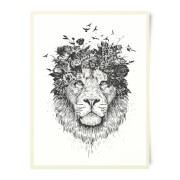 Lion And Flowers Art Print