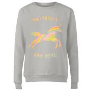 Unicorns Are Real Women's Sweatshirt - Grey