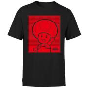 Nintendo Toad Retro Line Art Herren T-Shirt - Schwarz