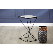 Fifty Five South Shalimar Trapezoid Side Table - Marble Top/Matte Black