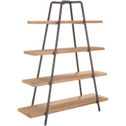 Premier Housewares Trinity 4 Tier Shelf Unit - Fir Wood/Iron
