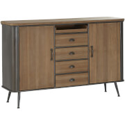 Premier Housewares Trinity 4 Drawer Cabinet - Fir Wood/Metal