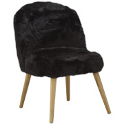 Premier Housewares Cabaret Chair - Black Fur Effect