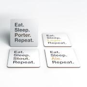 Eat Sleep Beer Repeat Coasters (Pack of 4)