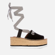 See By Chloé Women's Tie Up Espadrille Mid Wedge Sandals - Black