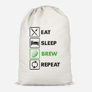 Eat Sleep Brew Repeat Cotton Storage Bag