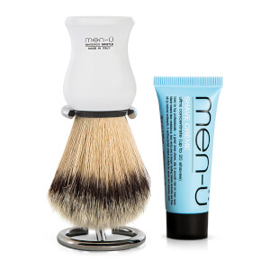 men-u DB-Premier Shaving Brush With Chrome Stand - White