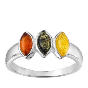 Triple Colour Amber Oval Stone  Ring