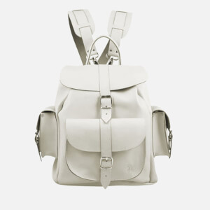 Grafea Bianca Medium Leather Rucksack - White