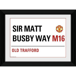 "Manchester United Street Sign - 16"""" x 12"""" Framed Photographic"