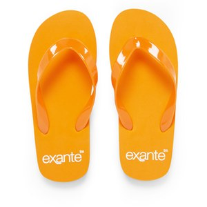 PE Beach Flip Flops with PVC Strap - Orange - Large