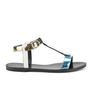 HUGO Women's Serine-R Flat Leather T-Bar Sandals - Open White