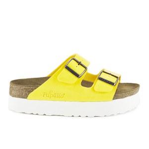 Birkenstock Women's Arizona Slim Fit Double Strap Platform Sandals - Yellow