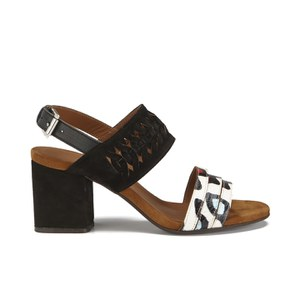Thakoon Addition Women's Cloe 01 Bubble Snake Suede Two Part Block Heeled Sandals - Black