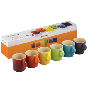 Le Creuset Stoneware Rainbow Espresso Mugs (Set of 6) - Multi