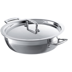 Le Creuset 3-Ply Signature Steel Shallow Casserole Dish with Lid - 30cm