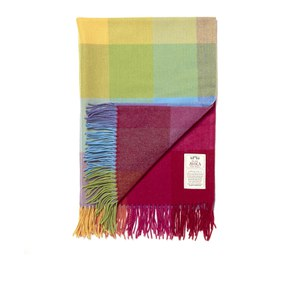 Avoca Lambswool WR73 Throw (142 x 100cm) - Blue/Red/Yellow/Orange