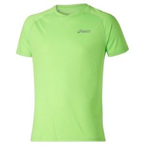 Asics Men's Shorts Sleeve Running T-Shirt - Green Gecko