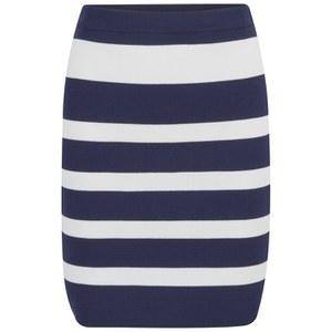 VILA Women's Cannon Striped Skirt - Black Iris