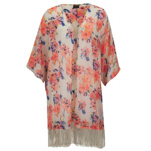 VILA Women's Petite Floral Kimono - Sandshell