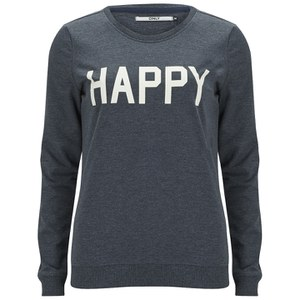 ONLY Women's Mona Slogan Box Sweatshirt - Mood Indigo