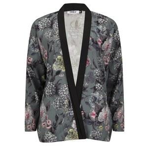 ONLY Women's Eah Flower Print Kimono - Cloud Dancer