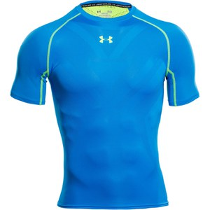 Under Armour Men's Armourvent Compression Short Sleeve Training T-Shirt - Blue Jet/High-Vis Yellow