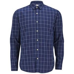 Selected Homme Men's Sea Long Sleeve Shirt - Navy/Marshmallow Check