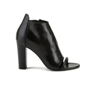 McQ Alexander McQueen Women's Albion Leather Peep Toe Heeled Ankle Boots - Black