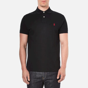 Polo Ralph Lauren Men's Custom Fit Short Sleeved Polo Shirt- Pl Black- Red