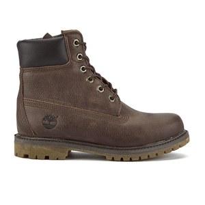 Timberland Women's 6 Inch Premium Leather Boots - Dark Brown w/Metallic Finish