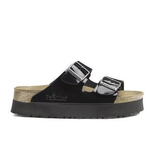 Birkenstock Papillio Women's Arizona Slim Fit Patent Double Strap Platform Sandals - Black Patent