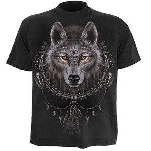 T-Shirt Spiral Wolf Dreams - Noir