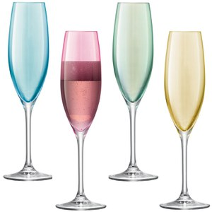 LSA Polka Pastel Champagne Flutes - 225ml (Set of 4)