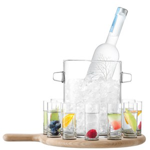 LSA Paddle Vodka Serving Set and Oak Paddle - Clear (38.5cm)