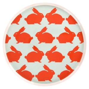 Anorak Kissing Rabbits Melamine Tray - Orange/Blue